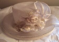 VINTAGE OFF WHITE PICTURE HAT~ROSES BOW & RHINESTONES WEDDING FORMAL