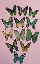 12 Precortada Comestibles Verde Mix (2) Mariposas Para Tortas Y Cupcake Toppers