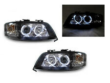 DEPO 98-01 AUDI A6 D2S Xenon HID BLACK WHITE LED ANGEL HALO PROJECTOR HEADLIGHT