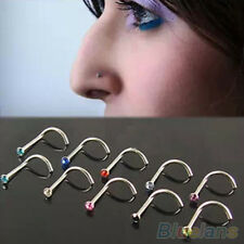 10X Novelty Mixed Color Hook Bone Bar Rhinestone Pin Piercing Nose Studs Rings