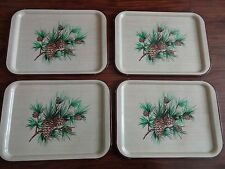 Set 4 Vintage Metal Serving TV Tray Table Pine Cone Evergreen Large
