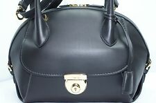 Salvatore Ferragamo Black Fiamma Bag Satchel Tote Handbag Leather NWT