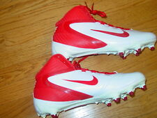 MENS 10.5 NIKE ALPHA SPEED D 3/4 FOOTBALL SPIKES CLEATS WHITE RED 442245 NEW