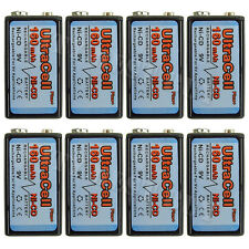8 x 9V Volt 160mAh Ni-Cd Rechargeable Battery Ultracell PP3 6F22 17R8H