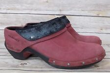 Merrell Luxe Wrap Merlot Red Leather Mules Clogs Womens Size 10 eu 41 M