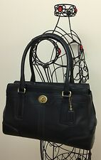 EUC Coach Hampton 11047 Black Leather Satchel Handbag Carryall Bag Purse Medium