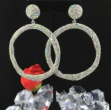 Chic Pageant Queen Prom Large Circle AB & Clear Crystal Drop/Dangle Silver Tone