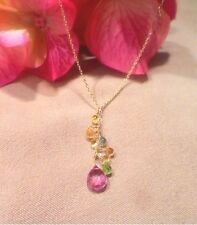 """18k gold necklace pink topaz yellow sapphire peridot cluster 16"""""""