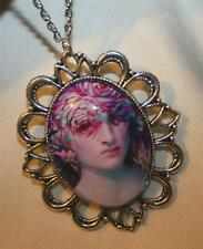 Handsome Festooned Silvertone Colorful Feather Masked Lady Pendant Necklace