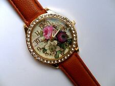 Lovely Flower and  Crystal Faced Quartz Watch Brown Strap