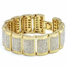 "Men's Gold Plated Dome Link Iced Out Clear Cz Stones Hip Hop Bracelet 9"" Inches"
