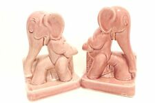 Vintage PINK Elephant Book Ends Ceramic Figurines Germany numbered CUTE!