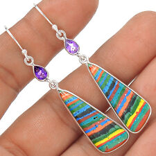 Rainbow Calsilica 925 Sterling Silver Earrings Jewelry EE1675