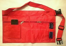 4 Pocket Market Trader Red Money Bag With Mobile Phone Holder And Pen Holder