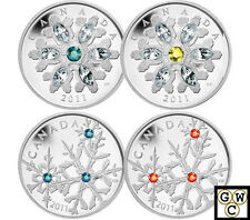 SPECIAL! All four 2011 Crystal Snow Flake $20 Prf Silver Coins  Fine(NT)(16308)