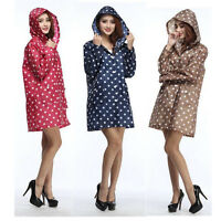 Women Girl Travel Waterproof Hiking Outdoor Dot Pocket Hooded Raincoat Poncho