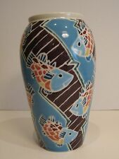 """Blue Fish Koi Ceramic Vase Japanese Style Signed Excellent Condition 9"""" High"""