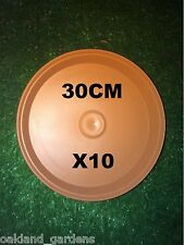10 X 30CM GRECIA HIGH SIDED SAUCER TERRACOTTA PLANT POT PLASTIC DRIP TRAY