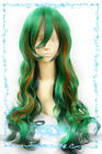 124 Yowamushi Pedal Makishima Yuusuke 80cm long wavy green mix cosplay wig