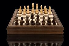 Quality DAL ROSSI Wooden Chess Checkers Backgammon Walnut Board Game Gift
