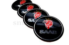4x60mm Saab Black Car Wheel Center Caps Plastic Curve Badge Sticker Logo