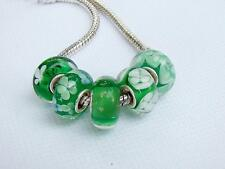 5pcs 925 Sterling Silver Murano Glass Lampwork Beads Fit European Charm Bracelet