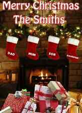 Family Christmas Card Fireplace Card PIDZ110 A5 Xmas Greeting Card Personalised