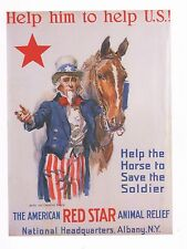 "WORLD WAR I POSTER ART ""AMERICAN RED STAR ANIMAL RELIEF"" HELP HORSE SAVE SOLDIER"