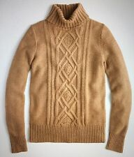NWT J Crew Women's L Cambridge Cable Turtleneck Wool Sweater Camel $98 #b2795
