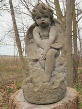 """Vtg 13.5"""" Tall Cement Angel Fountain Topper Garden Weathered Concrete Statue"""