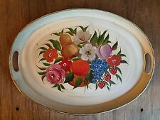 VINTAGE Cream Oval Hand Painted TOLEWARE Floral Fruit Tole Serving TRAY
