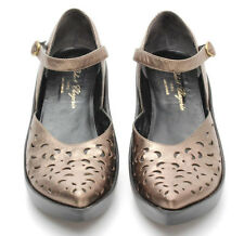 Robert Clergerie ankle strap metallic Lasercut Leather mary jane Shoes Size 10