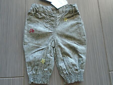 New w tag French Cadet Rousselle Baby Girl Flower Pants 3M 100% Cotton Euro22.99