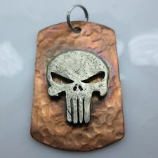 Punisher Lanyard Paracord/Leather Dog Tag in Copper w/Pewter by Marco Magallona