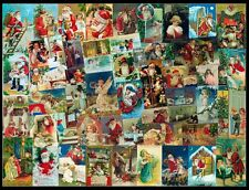 ORIGINAL ART - CHRISTMAS 1900s THEME - COLLAGE - SANTA ANGELS VINTAGE POSTCARDS
