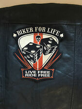 Biker for Life Live Free Ride Free Patch Aufnäher  24,5x23,5cm Rockabilly Kutte