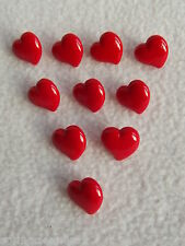 10 x RED HEART SHAPED BUTTONS size 15mm ~ FASHION/CRAFT