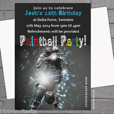 Paintballing Paintball Birthday Activity Party Invitations x 12 with envelopes