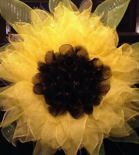 Yellow Sunflower Wreath Spring Door Decor Deco Mesh Flower Wreath
