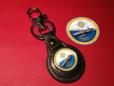 USS GERALD R FORD `CVN 78 CARRIER`:  LEATHER KEY RING  &  FREE   STICKER