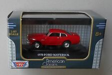 1970 RED FORD MAVERICK MOTORMAX 1:87 HO SCALE DIE-CAST VEHICLE