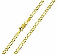 "14K Solid Yellow Gold Figaro Chain Necklace 2.5mm 20""  ( 1/8"" width )"