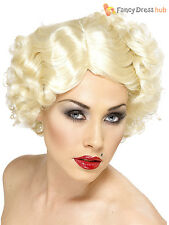 Ladies 1920s Hollywood Icon Wig Blonde Marilyn Monroe Fancy Dress 30s 1940s WW2