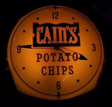ORIGINAL 1960'S CAIN'S POTATO CHIP DETROIT MICHIGAN AMERICAN LIGHTED CLOCK SIGN
