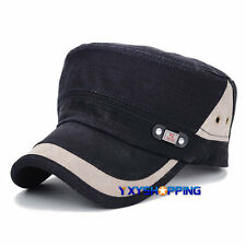 Men Casual Adjustable Military Plain Hat Patchwork Snapback Washing Baseball Cap