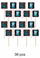 36 MAD HATTER TEA PARTY FLAG PICKS Alice in Wonderland Party Decoration 400133