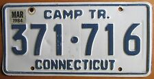 Connecticut 1984 CAMPING TRAILER License Plate # 371-716