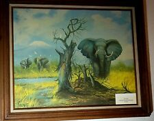 Parkhurst Elephant Oil Canvas Lithogram Painting Framed 10/100
