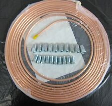 """1/4"""" OD x 25FT EASY FLARE COPPER FUEL PIPE + 10 7/16 x 20 MALE + 10 FEMALE NUTS"""
