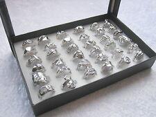 36 extravagante silberne Mode-Ringe + Display - Restposten - Angebotspreis